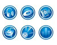 Party icons. Set of blue party and music icons royalty free illustration