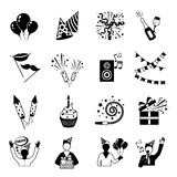 Party Icons Black And White Stock Photography