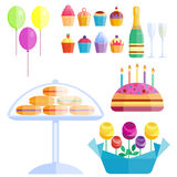 Party icons celebration happy birthday surprise decoration cocktail event anniversary vector. Royalty Free Stock Photography