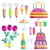 Party icons celebration happy birthday surprise decoration cocktail event anniversary vector. Stock Photography