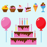 Party icons celebration happy birthday surprise decoration event anniversary vector. Stock Photography
