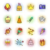 Party icons and celebration icons set royalty free stock photos