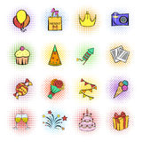 Party icons and celebration icons set. On white background Stock Photo