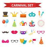 Party icons, design element, flat style. Carnival accessories, props, isolated. On white background. Masquerade Collection. Vector illustration, clip art Stock Image