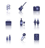 Party Icons of Holiday and Birthday Objects Royalty Free Stock Photos