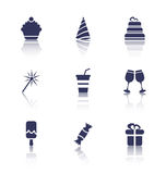 Party Icons of Holiday and Birthday Objects Royalty Free Stock Photo