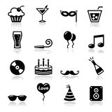 Party icons set - birthday, New Year's, Christmas. Black icons set - christmas, valentines, birthday, new year's celebration royalty free illustration