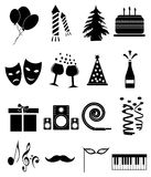 Party icons set. Party  icons set in black Royalty Free Stock Photo
