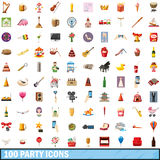 100 party icons set, cartoon style Royalty Free Stock Image