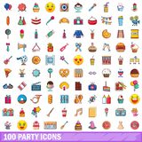 100 party icons set, cartoon style. 100 party icons set in cartoon style for any design vector illustration Royalty Free Stock Photos