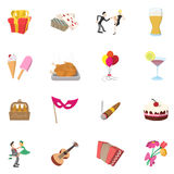 Party Icons set, cartoon style Royalty Free Stock Photo