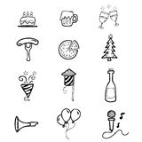 Party icons set cartoon Royalty Free Stock Photography