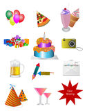 Party icons. Set of colorful party icons Royalty Free Stock Photos