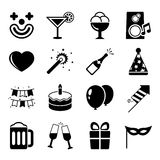 Party icons set, contrast flat. Isolated vector illustration Royalty Free Stock Photos
