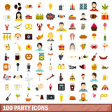 100 party icons set, flat style Royalty Free Stock Photos