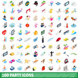 100 party icons set, isometric 3d style Stock Image