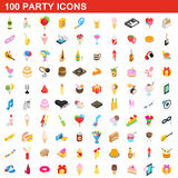 100 party icons set, isometric 3d style. 100 party icons set in isometric 3d style for any design vector illustration Stock Photo