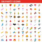 100 party icons set, isometric 3d style. 100 party icons set in isometric 3d style for any design illustration vector illustration