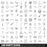 100 party icons set, outline style Stock Photos
