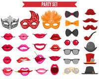 Party Icons Set In Retro Style Stock Photography