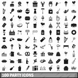 100 party icons set, simple style Stock Image