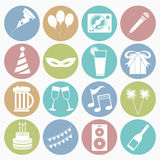 Party icons set. Vector white icons party set 16 with color circle Royalty Free Stock Photos