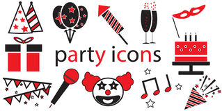 Party icons vector isolated. In white background Stock Photography