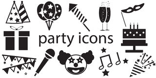Party icons vector isolated. In white background vector illustration