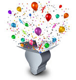 Party Ideas. And celebration event planning concept as an open cardboard box shaped as a lightbulb with festive balloons confetti and streamers coming out as a royalty free illustration