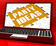 Party Ideas Laptop Shows Celebration Planning Royalty Free Stock Photos