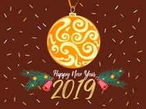 Party il manifesto La carta del buon anno 2019 con la palla gialla, albero di Natale si ramifica, stelle, campane su fondo marron illustrazione di stock