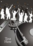 Party illustration. People silhouettes dancing at a party Royalty Free Stock Images
