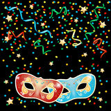 Party illustration with masks on black background Royalty Free Stock Image