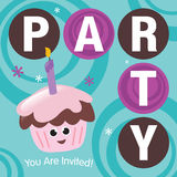 Party Invitation. With cupcake and candle Royalty Free Stock Image