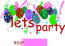 Party invitation. Invitation to lets party with rsvp required with balloons ,confetti and streamers on white Stock Photography