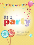 Party invitation. Colorful party invitation, with balloon, lollipops and flags Stock Photography