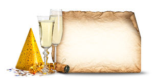 Party invitation. Glasses of champagne Royalty Free Stock Photos