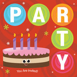 Party Invitation. With smiling cake and candles Stock Images