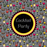 Party invitation with alcohol drinks and cocktails Royalty Free Stock Images