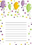 Party invitation with balloons Stock Photos