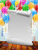 Party invitation with balloons, bubbles and confetti flying. Paper invitation, inflatable balloons, flying bubbles and confetti - party background with place for Stock Photography