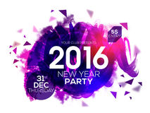 Party invitation card for New Year 2016. Elegant party invitation card with glossy abstract design for Happy New Year 2016 celebration Royalty Free Stock Images