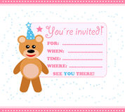 Party invitation card with teddy royalty free stock photography