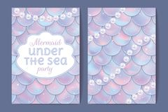 Party invitation. Holographic fish or mermaid scales, pearls and frame. Vector illustration. Party invitation cards. Holographic fish or mermaid scales, pearls Royalty Free Stock Photo