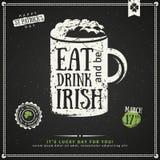 Party Invitation, Chalkboard Irish Beer Emblem Royalty Free Stock Photo