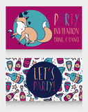 Party invitation with cute doodle fox drinking wine Stock Photos