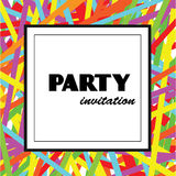 Party invitation design template with colorful ribbons. And text in frame. Party flyer, background, banner vector illustration Royalty Free Illustration