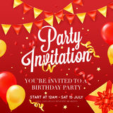 Party invitation Festive Colorful Poster. Birthday party invitation card poster template with ceiling balloon decorations and presents red festive background Royalty Free Stock Photo
