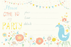 Party invitation with flower and bird cute design Royalty Free Stock Photography