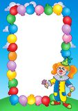 Party invitation frame with clown 1 Royalty Free Stock Photo